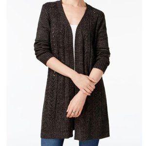 Karen Scott Black Ash Duster Cardigan Sweater